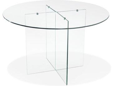 Table de salle à manger ronde en verre 'BOBBY TABLE ROUND' desig