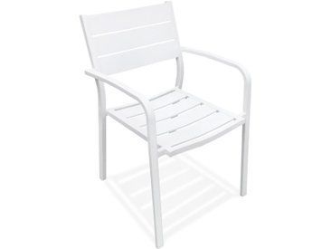 Chaise de jardin empilable 'MOREA' en aluminium blanc avec accou
