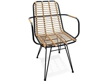 Chaise avec accoudoirs 'BASTIA' en rotin couleur naturelle et mé