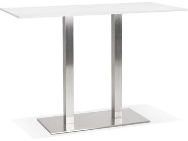 Mange-debout design 'DENVER BAR' blanc avec pied en métal brossé