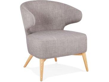 Fauteuil lounge 'ODILE' en tissu gris et pieds en bois finition