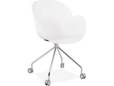 Chaise de bureau design 'JEFF' blanche sur roulettes