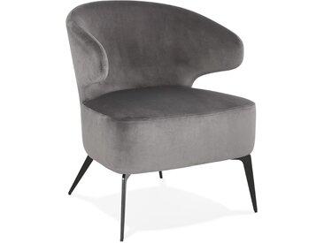 Fauteuil lounge design 'VICTOR' en velours gris et pieds en méta