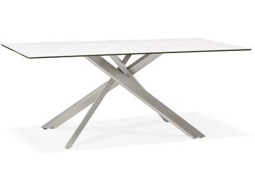 Table à diner 'MARKINA' en céramique blanche avec pied central e