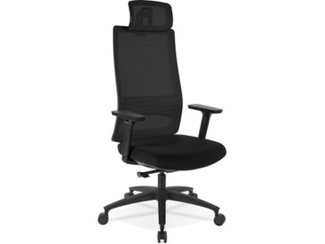 Fauteuil de bureau ergonomique 'OXFORD' en tissu noir