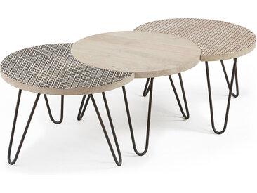 Kave Home - Set Houp de 3 tables 134 x 39,5 cm