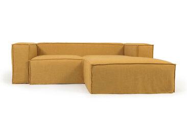 Kave Home - Canapé déhoussable Blok 2 places avec méridienne droite en lin moutarde 240 cm