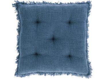 Kave Home - Coussin de chaise Brunela 100% coton bleu 45 x 45 cm