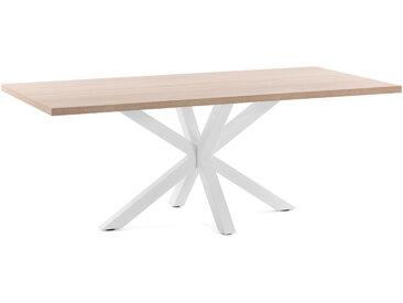 Kave Home - Table Argo 200 cm mélamine naturel pieds blanc