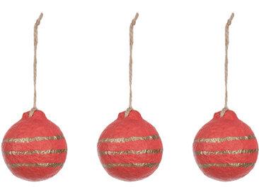 Kave Home - Boules de Noël Galia rouges à rayures