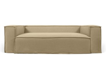 Kave Home - Canapé déhoussable Blok 3 places en lin beige 240 cm