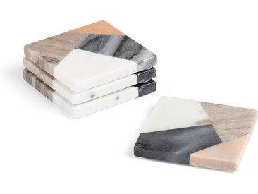 Kave Home - Set Bradney de 4 dessous de verre carré marbre multicolore