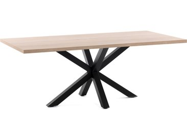 Kave Home - Table Argo 180 cm mélamine naturel pieds noir