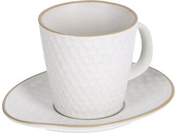 Kave Home - Tasse à café avec soucoupe Manami en céramique blanc
