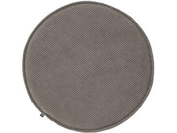 Kave Home - Galette de chaise ronde Sora velours côtelé gris Ø 35 cm