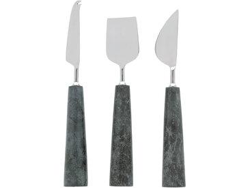 Kave Home - Lot Bluma de couteaux à fromages en marbre vert