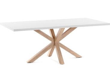 Kave Home - Table Argo 200 cm mélamine blanc pieds effet bois
