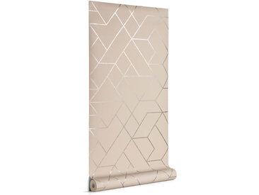 Kave Home - Papier peint Gea gris et argenté 10 x 0,53 m