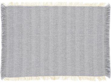Kave Home - Lot Aicha de 2 sets de table 100% coton avec franges beige et bleu 35 x 50 cm