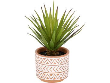Kave Home - Petit Palmier artificielle en pot en céramique marron et blanc