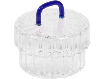 Kave Home - Bocal Gretel en verre transparent et bleu