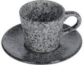Kave Home - Tasse à café Airena avec soucoupe en céramique noire