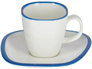 Kave Home - Tasse avec soucoupe Odalin porcelaine blanc et bleu