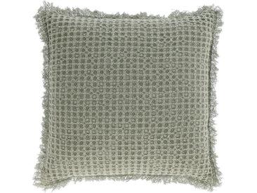 Kave Home - Housse de coussin Shallow 100% coton vert 45 x 45 cm