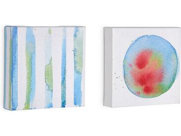 Kave Home - Set de 2 tableaux Oh bleu