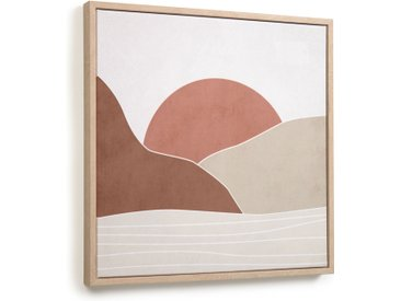 Kave Home - Tableau Izem soleil et montagnes marron 40 x 40cm