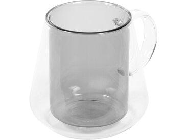 Kave Home - Tasse Kimey en verre transparent et gris grand format