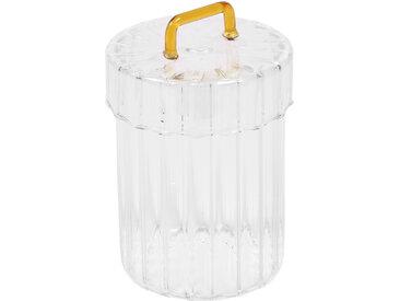Kave Home - Bocal Gretel en verre transparent et jaune