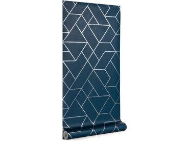 Kave Home - Papier peint Gea bleu et argenté 10 x 0,53 m