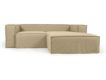 Kave Home - Canapé déhoussable Blok 2 places avec méridienne droite en lin beige 240 cm