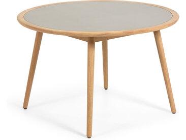 Kave Home - Table ronde Nina en polyciment et bois massif d'eucalyptus Ø 120cm FSC 100%