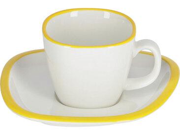Kave Home - Tasse à café avec soucoupe Odalin porcelaine blanc et jaune