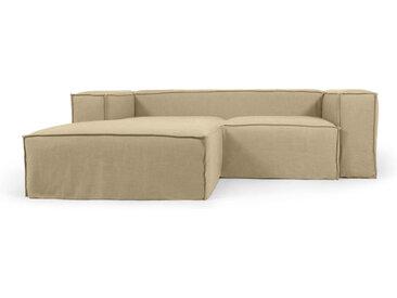 Kave Home - Canapé déhoussable Blok 2 places avec méridienne gauche en lin beige 240 cm