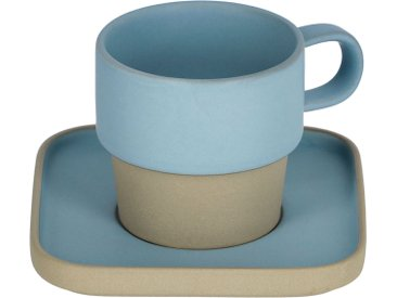 Kave Home - Tasse avec soucoupe Midori céramique bleu
