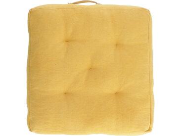 Kave Home - Coussin de sol Sarit 100% coton moutarde 60 x 60 cm