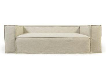 Kave Home - Canapé déhoussable Blok 3 places en lin blanc 240 cm