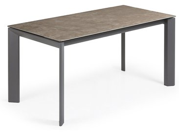 Kave Home - Table extensible Axis 160 (220) cm grès cérame finition Vulcano Ash pieds anthracite