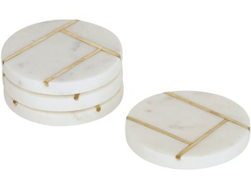Kave Home - Lot Tahis de 4 dessous de verre en marbre blanc