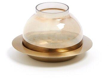 Photophore en verre Billie 10 cm, doré