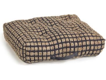 Kave Home - Coussin de sol et palette Adelma en jute et coton noir et naturel 63 x 63 cm