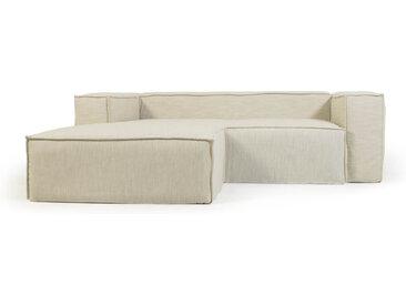 Kave Home - Canapé déhoussable Blok 2 places avec méridienne gauche en lin blanc 240 cm