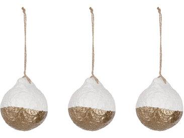 Kave Home - Boules de Noël Galia rayures blanches et dorées