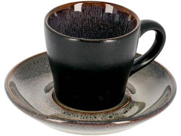 Kave Home - Tasse de café Odile avec sous-tasse bleu foncé