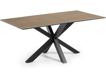 Kave Home - Table Argo 180 cm grès cérame Iron Corten pieds noir