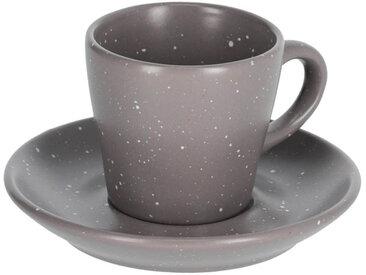Kave Home - Tasse à café avec soucoupe Aratani gris foncé