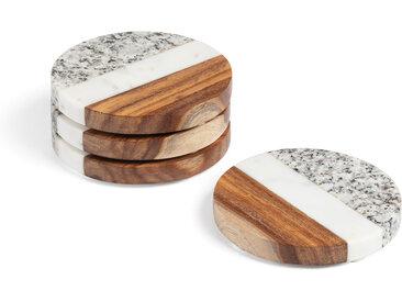 Kave Home - Set Cataleg de 4 dessous de verre rond marbre blanc gris